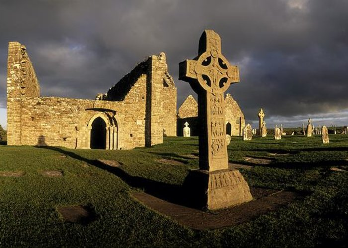 Abbey Greeting Card featuring the photograph Clonmacnoise Monastery, Co Offaly by The Irish Image Collection