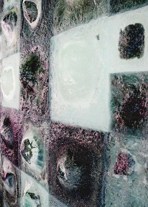 Newspaper Greeting Card featuring the sculpture close up of Country Hills panel 5 by Sarah King