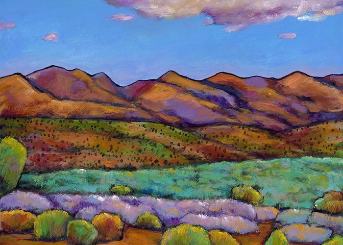 Southwest Landscape Greeting Card featuring the painting Cloud Cover by Johnathan Harris
