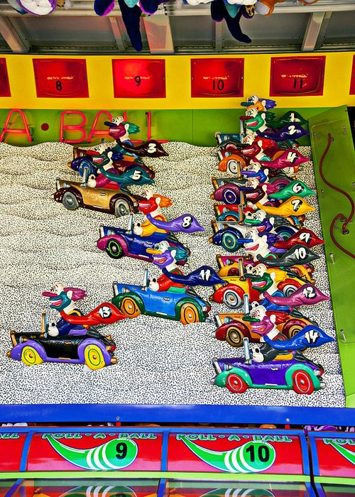 Clown Car Racing Game Carnival Greeting Card featuring the photograph Clown Car Racing Game by Garry Gay