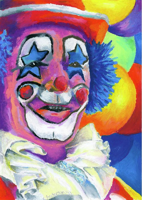 Clown Greeting Card featuring the painting Clown With Balloons by Stephen Anderson