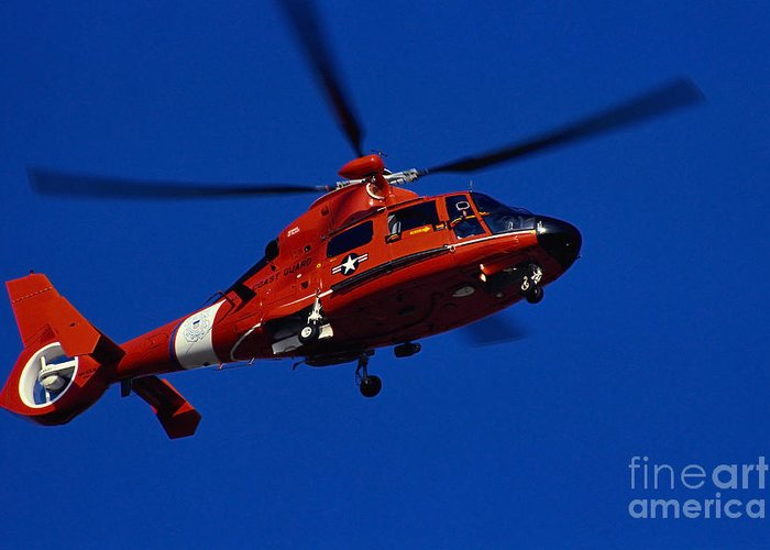 Horizontal Greeting Card featuring the photograph Coast Guard Helicopter by Stocktrek Images