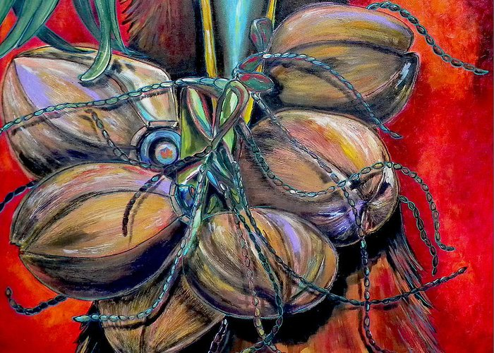 Coconuts Greeting Card featuring the painting Coconuts by Patti Schermerhorn