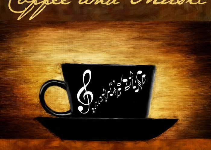Coffee Greeting Card featuring the digital art Coffee And Music by Lourry Legarde