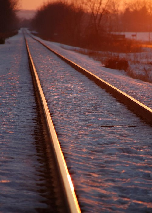 Railroda Greeting Card featuring the photograph Cold Line Sunset by Jame Hayes