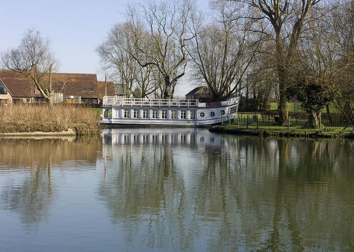 Banks Greeting Card featuring the photograph College Barge At Sandford Uk by Mike Lester