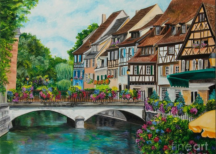 Colmar Greeting Card featuring the painting Colmar In Full Bloom by Charlotte Blanchard