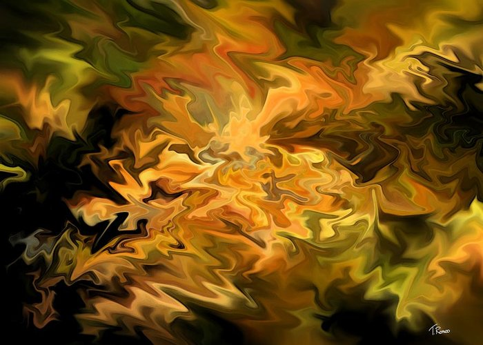 Abstract Greeting Card featuring the digital art Color Storm by Tom Romeo