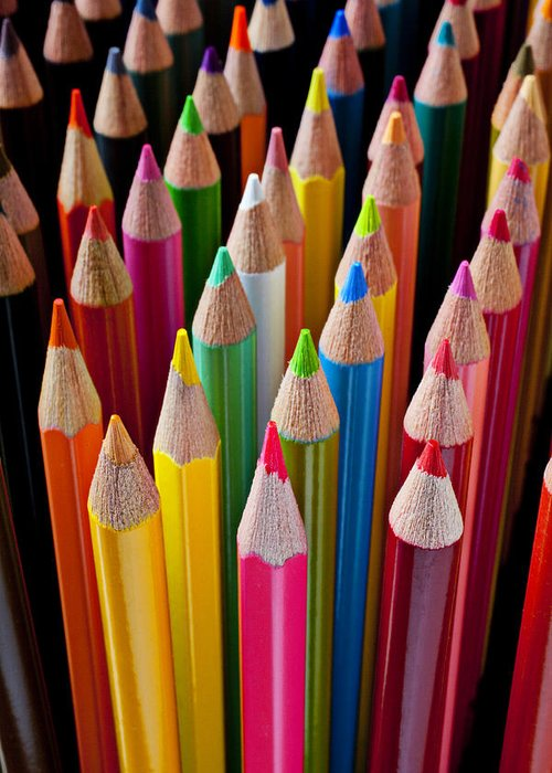 Pencil Greeting Card featuring the photograph Colored Pencils by Garry Gay