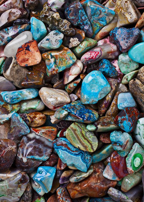 Stone Greeting Card featuring the photograph Colored Polished Stones by Garry Gay