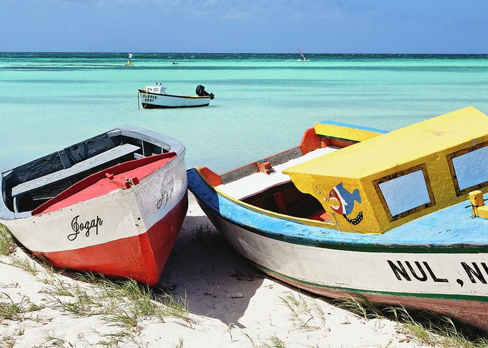 Antilles Greeting Card featuring the photograph Colorful Traditional Fishing Boats by George Oze