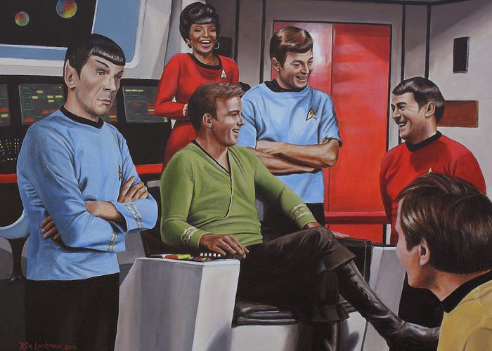 Star Trek Greeting Card featuring the painting Comic Relief by Kim Lockman