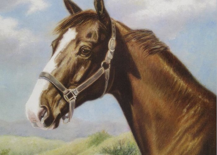 Greeting Card featuring the painting Commission Chestnut Horse by Dorothy Coatsworth