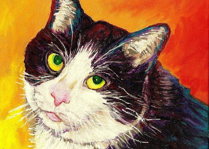 Cats Greeting Card featuring the painting Commission Your Pets Portrait By Artist Carole Spandau Bfa Ecole Des Beaux Arts by Carole Spandau