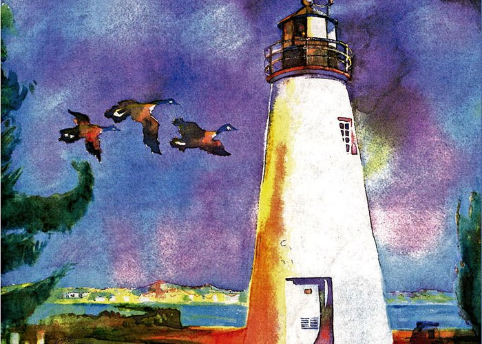 Watercolor Greeting Card featuring the painting Concord Point Lighthouse by Dean Gleisberg