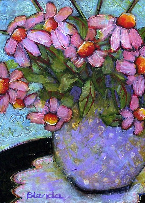 Flowers Greeting Card featuring the painting Coneflowers In Lavender Vase by Blenda Studio