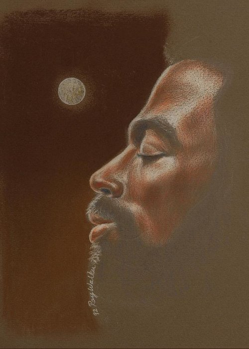 African American Paintings Greeting Card featuring the pastel Consider The Moon by Raymond Walker