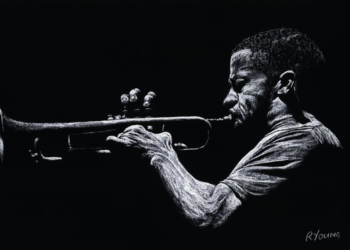 Musician Greeting Card featuring the pastel Contemporary Jazz Trumpeter by Richard Young