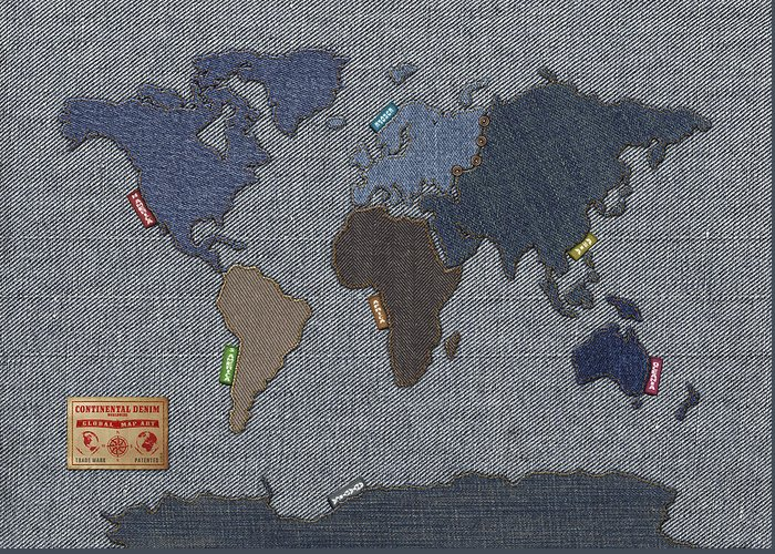 World Map Greeting Card featuring the digital art Continental Denim World Map by Michael Tompsett