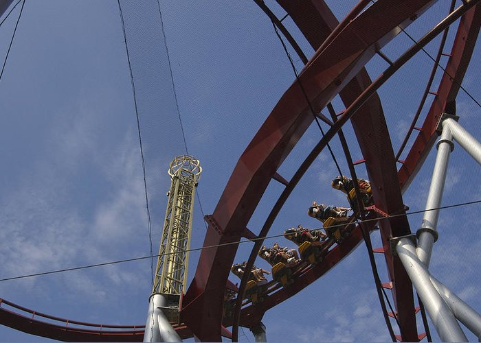 Action Greeting Card featuring the photograph Copenhagen, Denmark, Rollercoaster Ride by Keenpress