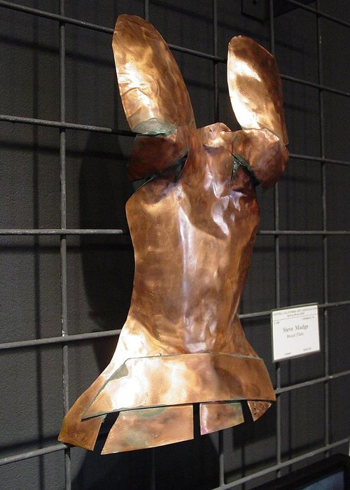 Breastplate Greeting Card featuring the sculpture Copper Breast Plate by Steve Mudge