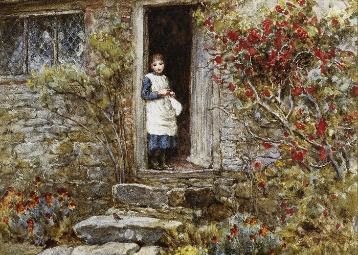 Corcorus Japonica Greeting Card featuring the painting Corcorus Japonica by Helen Allingham