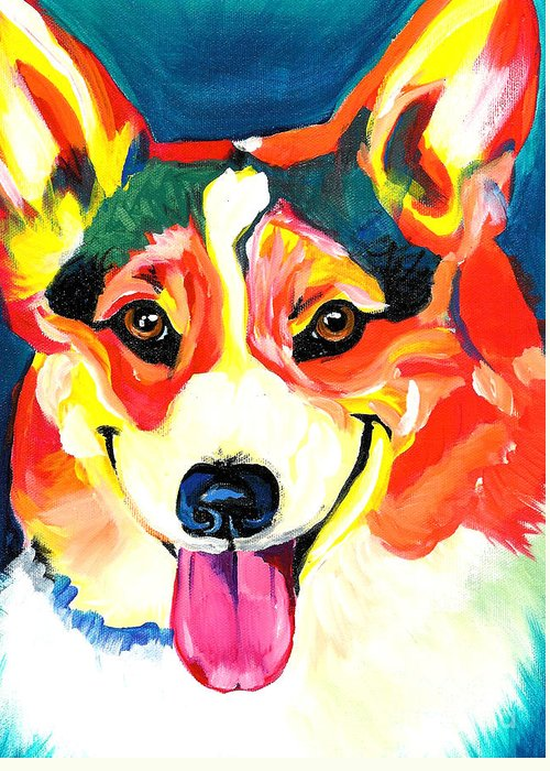 Dog Greeting Card featuring the painting Corgi - Chance by Alicia VanNoy Call