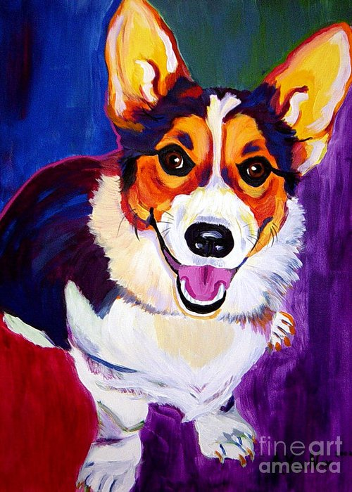 Dog Greeting Card featuring the painting Corgi - Taste The Rainbow by Alicia VanNoy Call