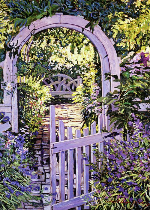 Gardens Greeting Card featuring the painting Country Garden Gate by David Lloyd Glover