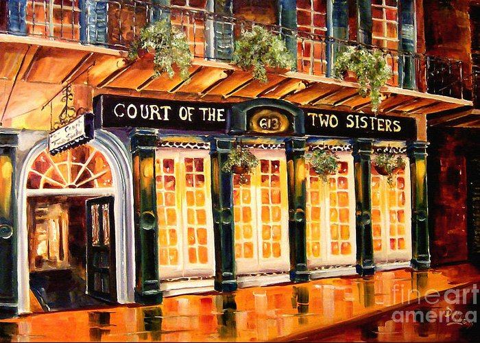 New Orleans Greeting Card featuring the painting Court Of The Two Sisters by Diane Millsap