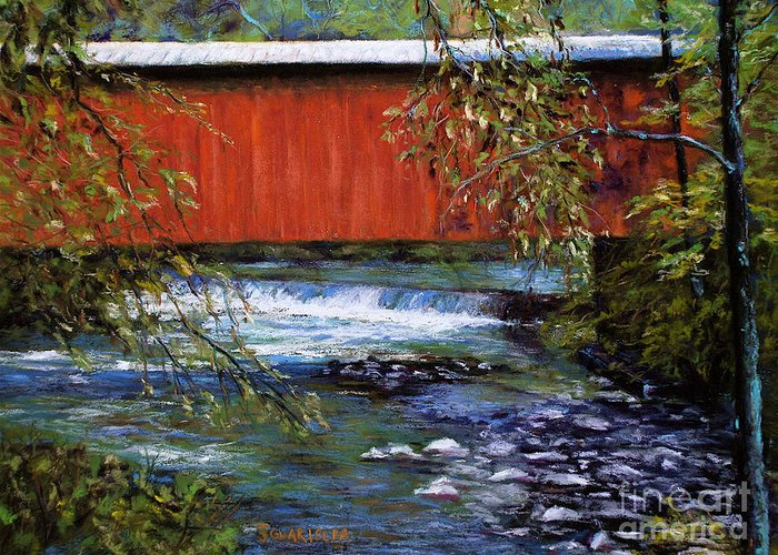 Landscape Greeting Card featuring the pastel Covered Bridge And Wissahickon Creek by Joyce A Guariglia