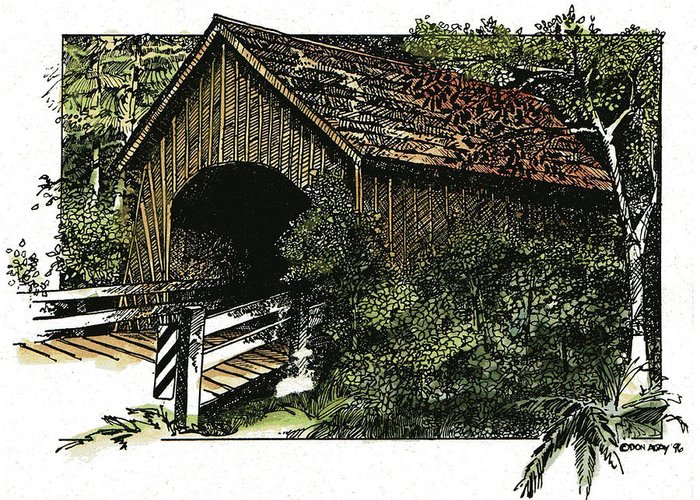 Bridge Greeting Card featuring the drawing Covered Bridge At Yachats Oregon by Donald Aday