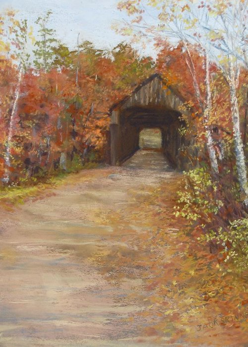 Covered Bridge Greeting Card featuring the painting Covered Bridge Southern Nh by Jack Skinner