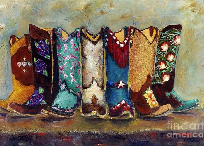 Cowgirls Greeting Card featuring the painting Cowgirls Kickin The Blues by Frances Marino