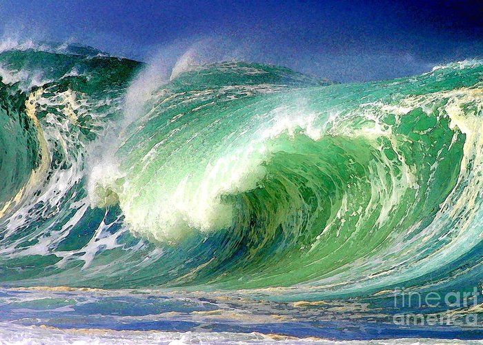 Ocean Greeting Card featuring the digital art Crashing Surf by Paul Topp