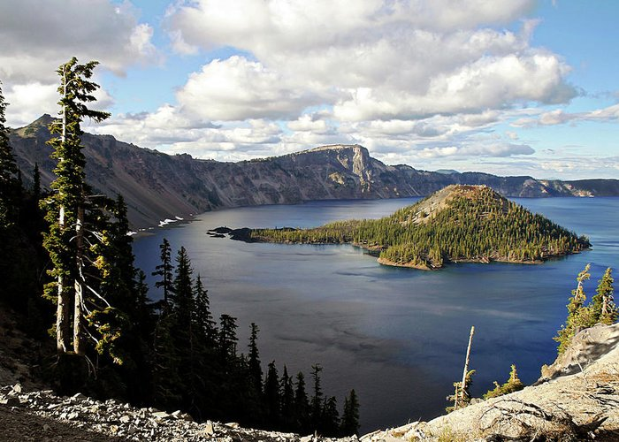 Peaceful Greeting Card featuring the photograph Crater Lake - Intense Blue Waters And Spectacular Views by Christine Till