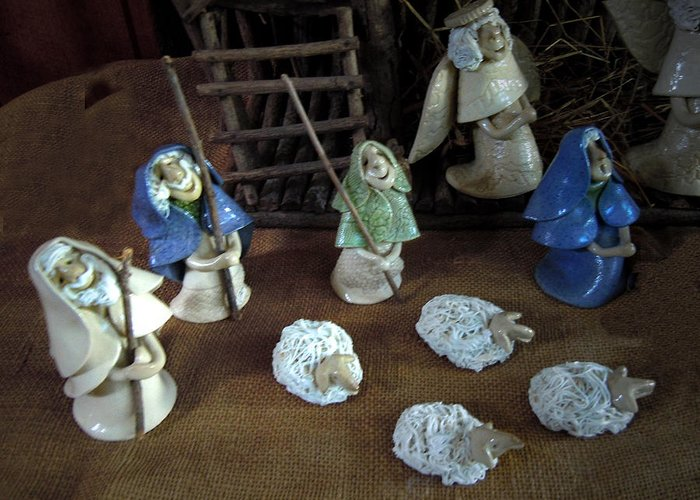 Nativity Greeting Card featuring the ceramic art Creche Shepards And Sheep by Nancy Griswold