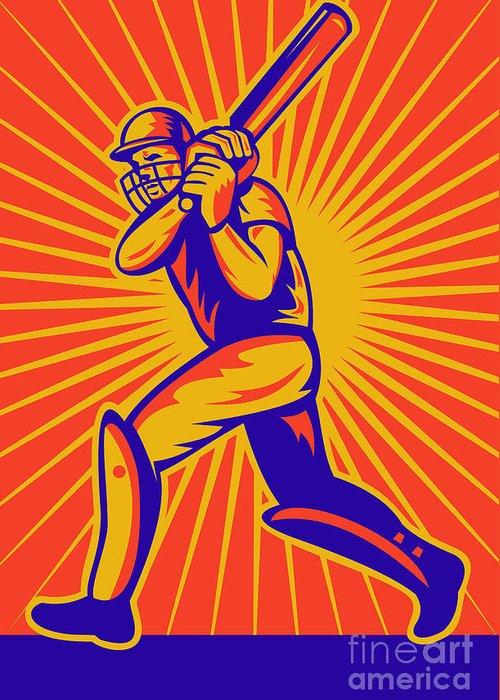 Cricket Greeting Card featuring the digital art Cricket Sports Batsman Batting by Aloysius Patrimonio