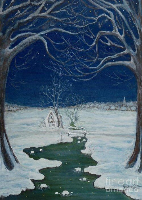 Folkartanna Greeting Card featuring the painting Crossing At The Shrine by Anna Folkartanna Maciejewska-Dyba