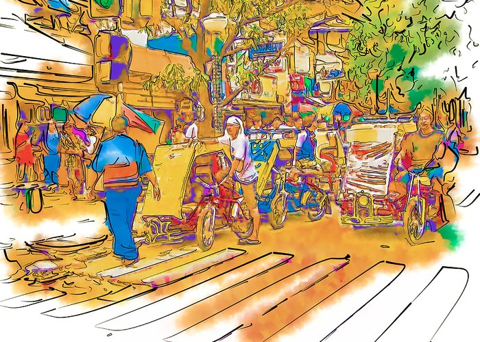 Asia Greeting Card featuring the drawing Crosswalk In The Philippines by Rolf Bertram