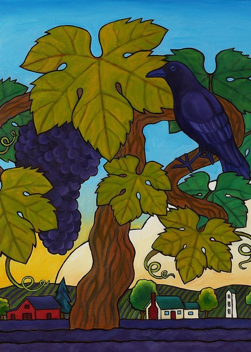 Crow Greeting Card featuring the painting Crow With Wine On The Vine by Stacey Neumiller