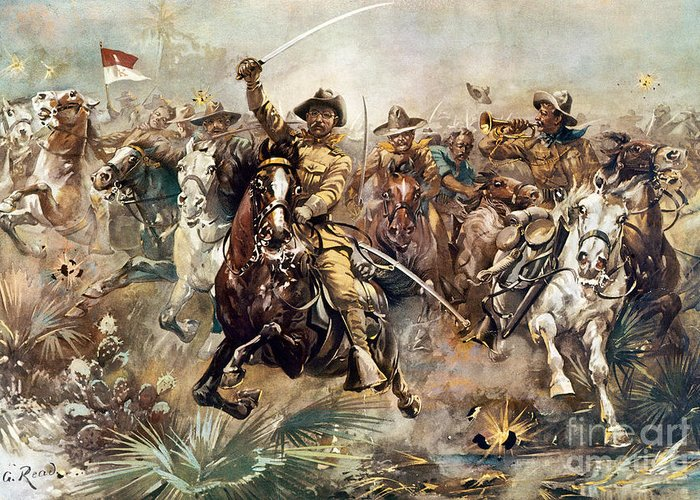 1898 Greeting Card featuring the photograph Cuba: Rough Riders, 1898 by Granger