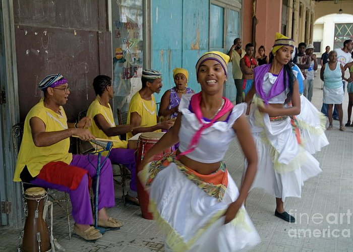 Adult Greeting Card featuring the photograph Cuban Band Los 4 Vientos And Dancers Entertaining People In The Street In Havana by Sami Sarkis
