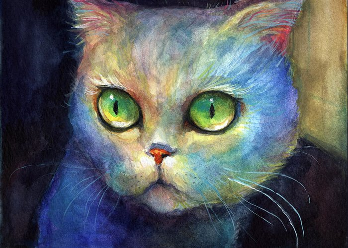 Cute Kitten Greeting Card featuring the painting Curious Kitten Watercolor Painting by Svetlana Novikova
