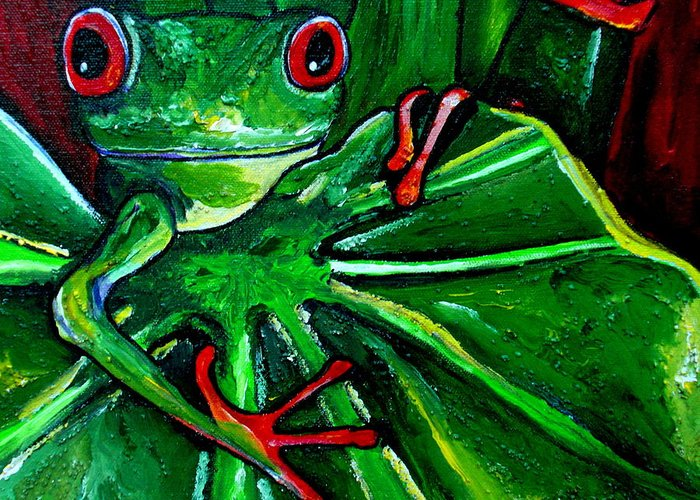 Tree Frog Greeting Card featuring the painting Curious Tree Frog by Patti Schermerhorn