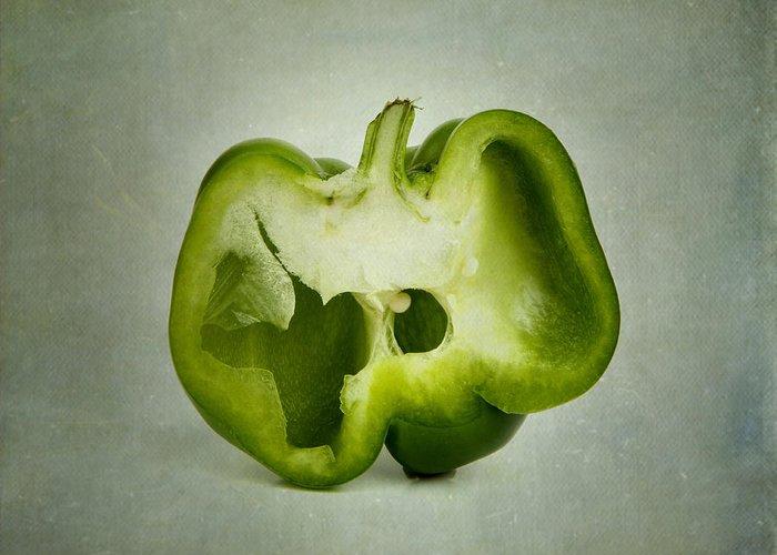 Texture Greeting Card featuring the photograph Cut Green Bell Pepper by Bernard Jaubert