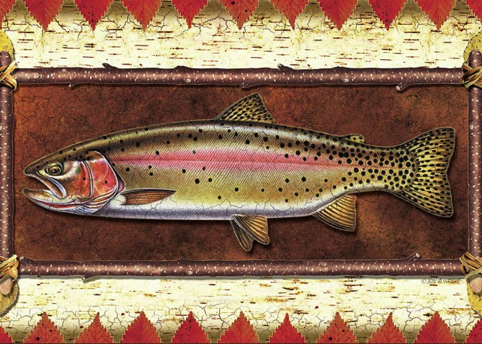 Trout Greeting Card featuring the painting Cutthroat Trout Lodge by JQ Licensing