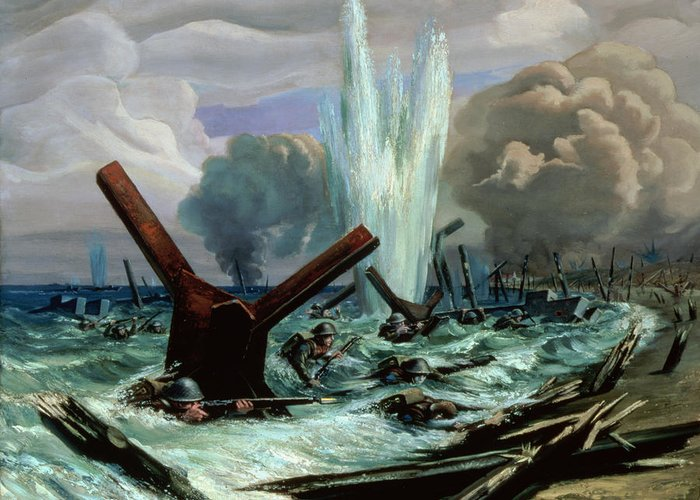 D-day - The Assault Greeting Card featuring the painting D Day by Orville Norman Fisher