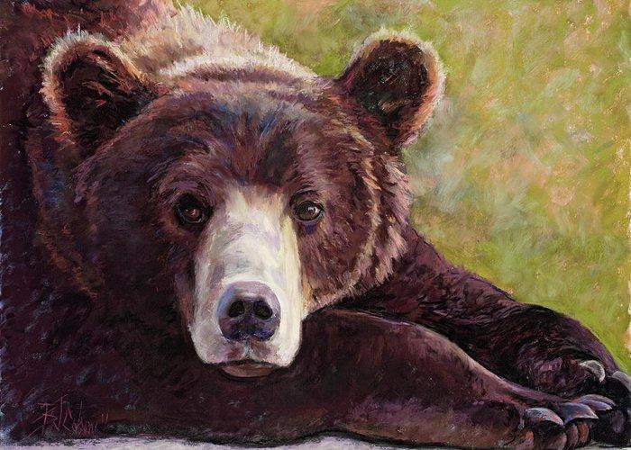 Bear Greeting Card featuring the painting Da Bear by Billie Colson