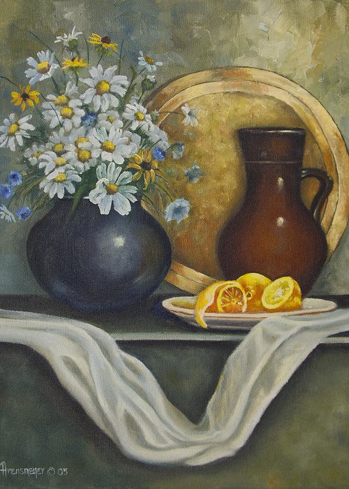 Brass Plate Greeting Card featuring the painting Daisy Stillife With Oranges by Ann Arensmeyer